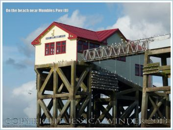 View of the old Lifeboat Station with roosting kittiwakes near Mumbles Pier