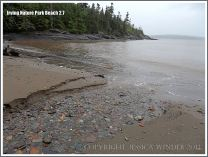 Stream with pebbles on a New Brunswick beach