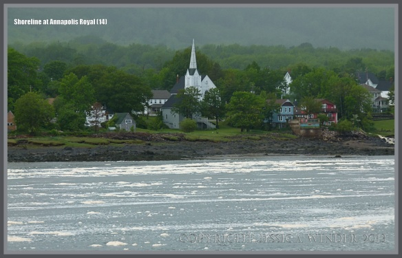 View across the sea foam covered stretch of water between Annapolis Royal and Granville Ferry on the opposite shore