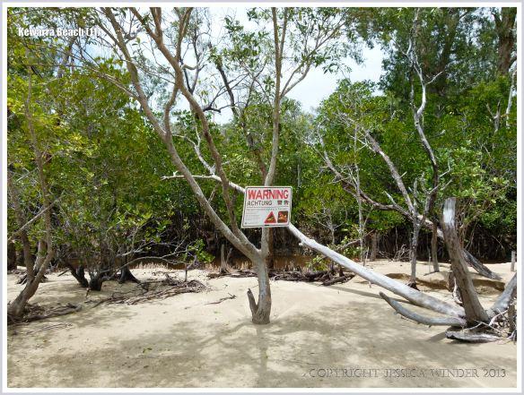 Sign warning of dangerous crocodiles