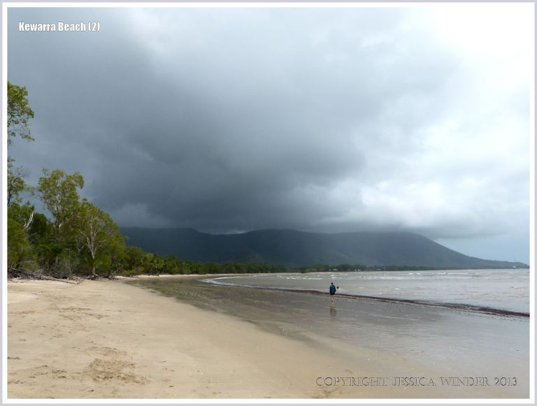 View of tropical beach with rain clouds
