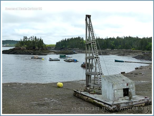 Old wooden winch or crane on the beach at Blacks Harbour