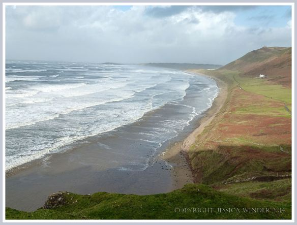 View across Rhossili Beach in December 2014