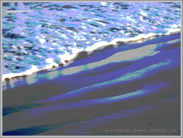 Sea, surf, and sand ripples on the seashore