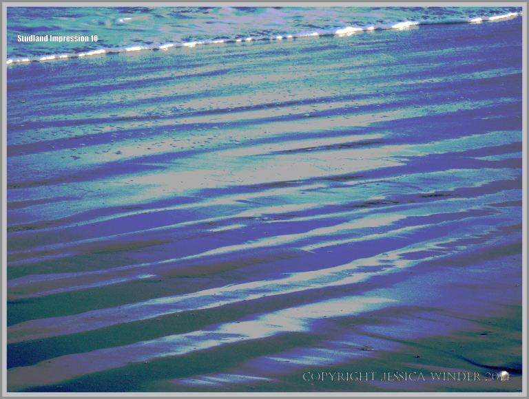 Sea, surf, and sand ripples on the seashore
