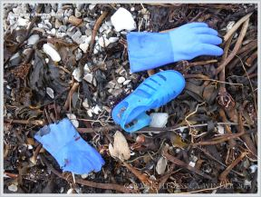 Blue plastic flotsam shoes and gloves on pebbles and seaweed