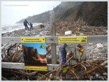 Cliff danger warning signs on a Dorset beach
