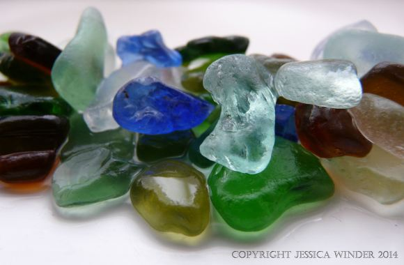 Sea glass from Dorset beaches in England