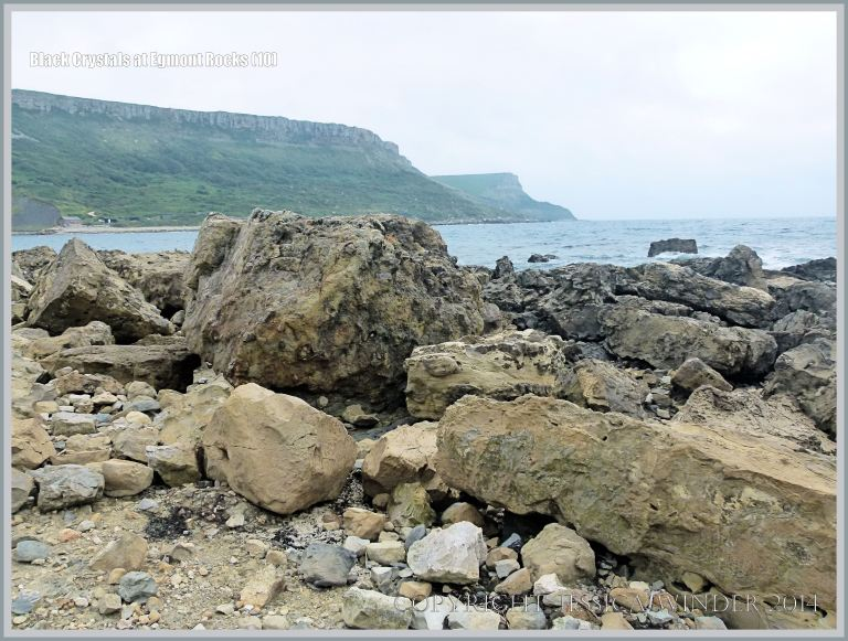 Context shot showing beach boulders at location where black crystals were found