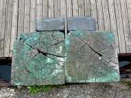 Cross-section through weathered timber posts