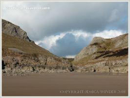Sand covered beach at Mewslade Bay prior to winter storms