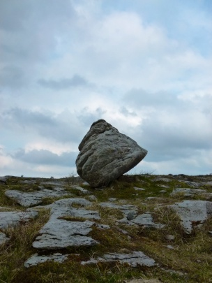 Glacial erratic boulder on the Carboniferous limestone pavement of The Burren