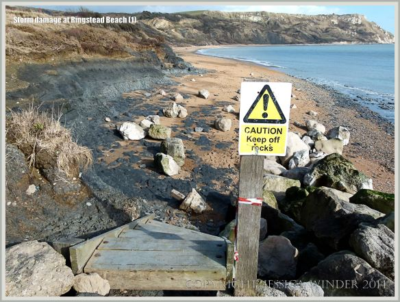 Wooden steps, smashed by storms, leading down to the east half of Ringstead Bay