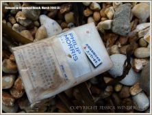 Flotsam packet of cigarettes washed ashore at Ringstead Bay