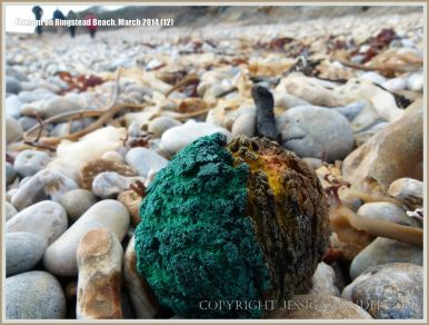 Remains of a toy ball washed up on Ringstead Beach