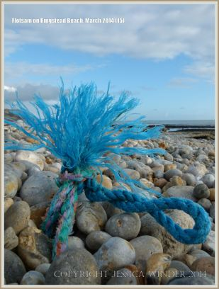 Knotted rope flotsam washed ashore at Ringstead Bay