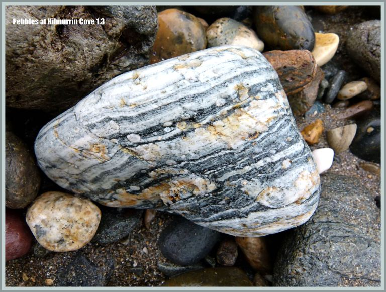 Beach stone with stripes and spots