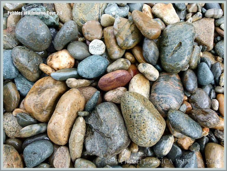 Wet beach stones and pebbles on the beach