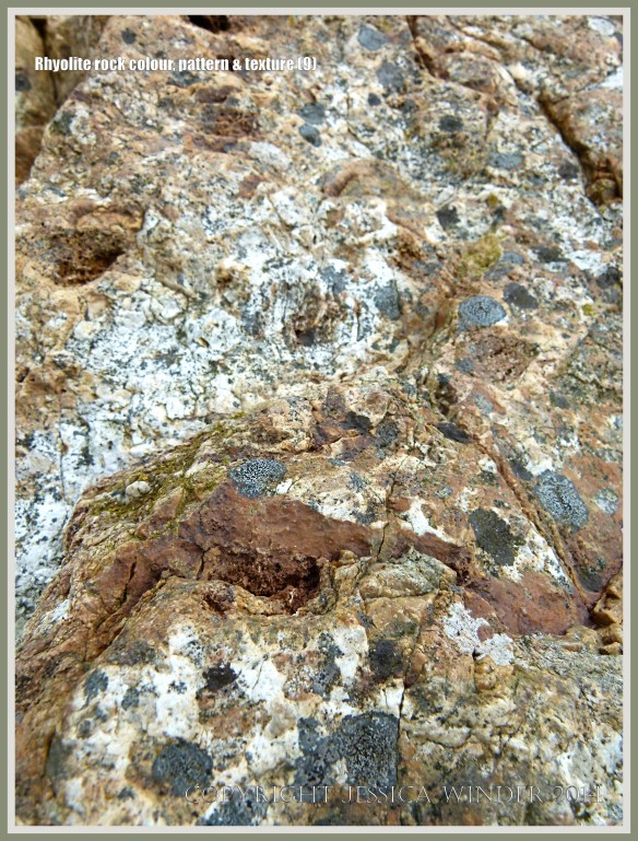 Close-up of the texture of rhyolite rock