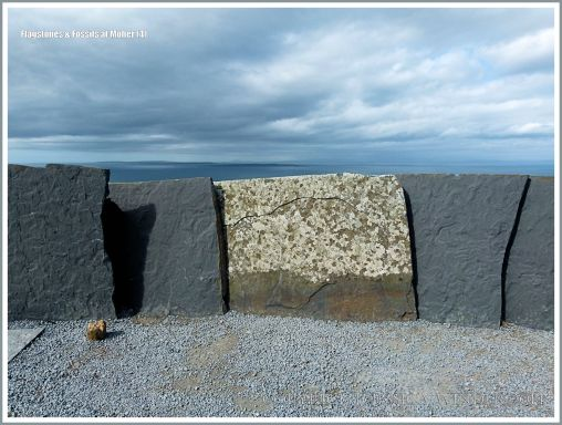 Liscannor flags with Olivellite trace fossils and lichens at the Cliffs of Moher