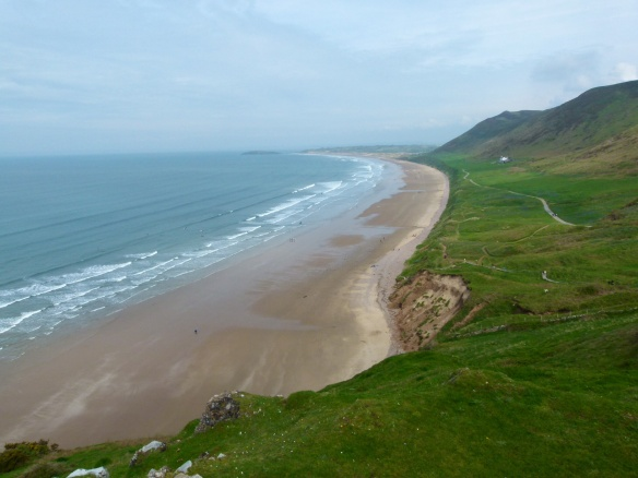 View of land slip at Rhossili Beach