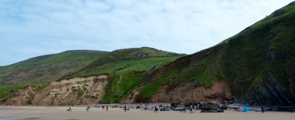 Land slide at Rhossili Beach