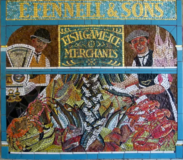 Mosaic of old-fashioned fishmongers shop