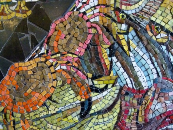 Detail of crabs in a mosaic picture of a fishmonger shop