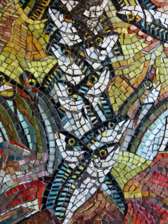 Detail of fish depicted in a mosaic