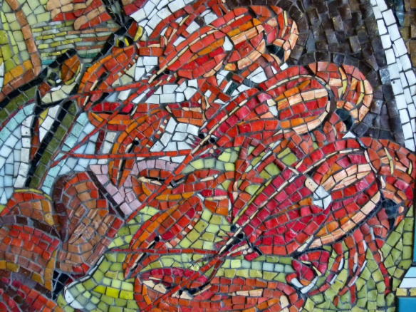 Close-up detail of lobsters in a mosaic