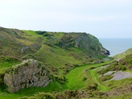 View looking down the valley towards Mewslade Bay