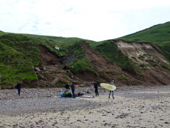 Looking up at the land slip area from the beach at Rhossili