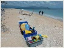 Gear for a day at the beach on Normanby Island