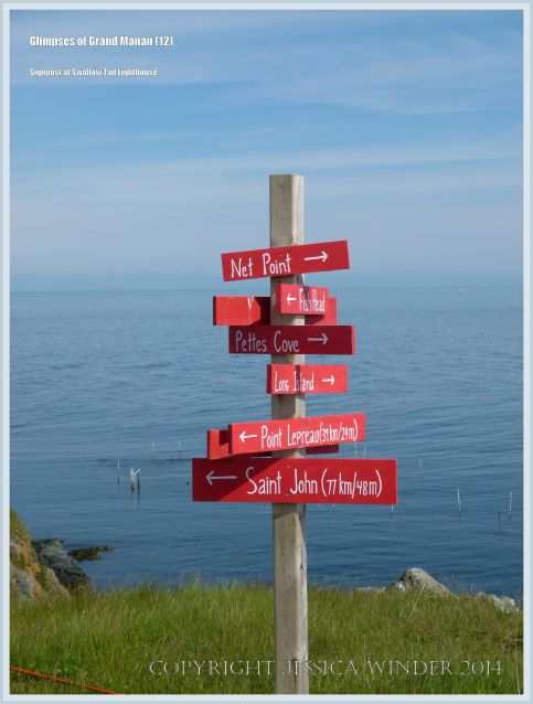 Mile post near the Swallow Tail Lighthouse on Grand Manan.