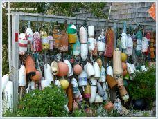 Display of flotsam fishing floats on Grand Manan