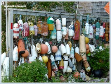 Display of flotsam fishing floats on Grand Manan