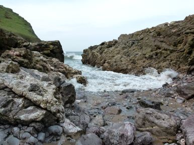 Tide just beginning to ebb at the Mewslade Bay fault gully