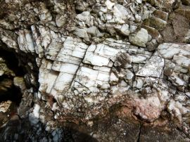 Calcite crystals in the fault gully at Mewslade Bay