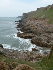 View looking west along the South Gower Coast from the foot of Thurba Head