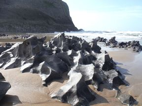 Naturally sculptured limestone rocks at Mewslade Bay