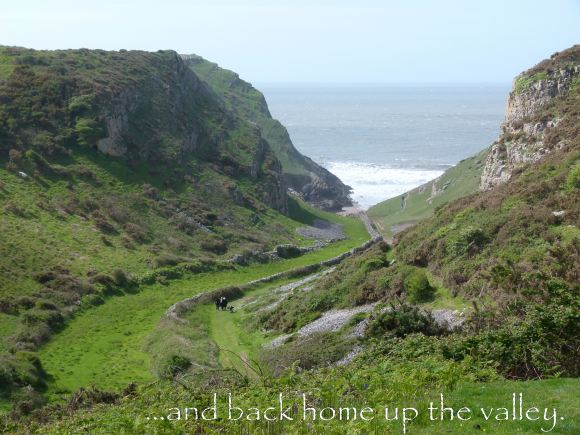 Returning up the valley from Mewslade Bay at the end of the day