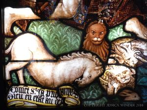 "Animals in a stained glass window called ""The Eternal"" by Ruth Taylor Jacobsen"