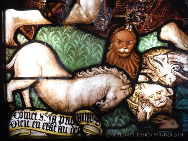"""Animals in a stained glass window called """"The Eternal"""" by Ruth Taylor Jacobsen"""