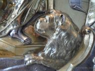 Lion cast in silver as part of a larger sculptural piece