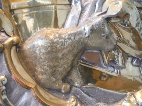 Cow cast in silver as part of a larger sculptural piece