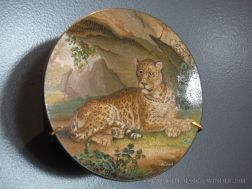 Early 19th century plaque with a leopard in glass micro-mosaic from Rome, Italy