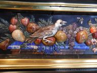 17th century Italian micro-mosaic of bird and fruit