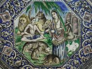 Animals on an Iranian ceramic tile that is part of a panel depicting the world of Islamic poetry