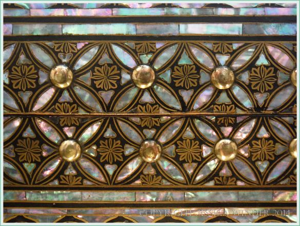 Mother of pearl decorative inlay on a 16th century Japanese coffer