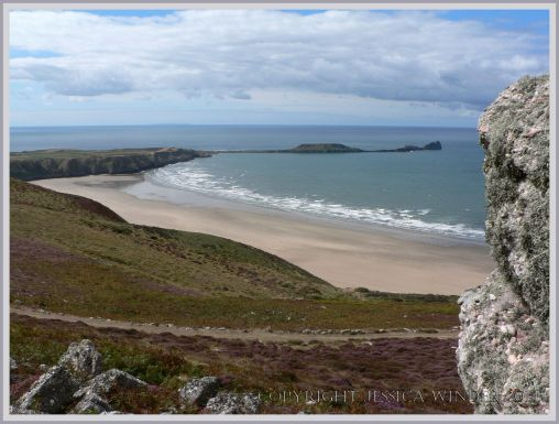 Looking down at the Worm's Head Causeway where astrange stone thought to be an ancient axe has been found